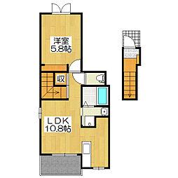 グローリア2[2階]の間取り