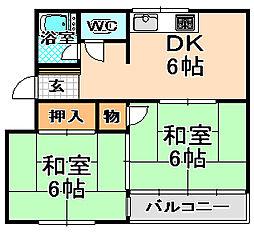 兵庫県伊丹市緑ケ丘2丁目の賃貸マンションの間取り