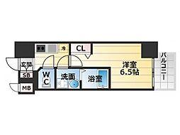 Osaka Metro中央線 九条駅 徒歩2分の賃貸マンション 13階1Kの間取り