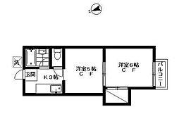 東京都調布市国領町5の賃貸アパートの間取り