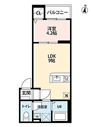 名古屋市営名港線 六番町駅 徒歩5分の賃貸アパート 3階1LDKの間取り