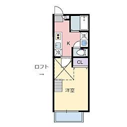 JR仙山線 東北福祉大前駅 徒歩7分の賃貸アパート 2階1Kの間取り