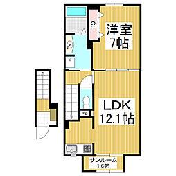 松本電気鉄道上高地線 波田駅 徒歩9分の賃貸アパート 2階1LDKの間取り