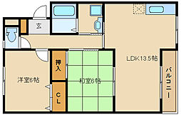 第6コーポ平野[2階]の間取り