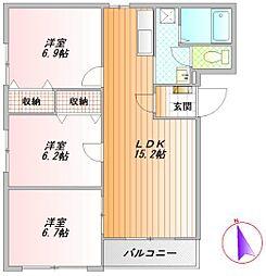 静岡県御殿場市神山の賃貸マンションの間取り