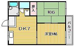大阪府高槻市下田部町2丁目の賃貸アパートの間取り