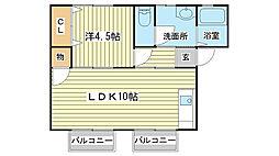 パナハイツ山田[202号室]の間取り