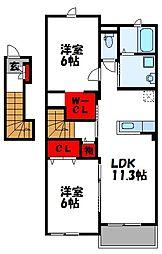 福岡県福津市宮司6丁目の賃貸アパートの間取り