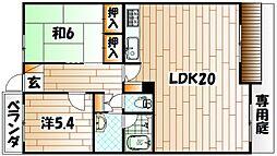 ホワイトキャッスル緑ヶ丘B棟[1階]の間取り