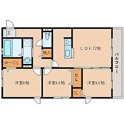 近鉄天理線 天理駅 徒歩19分の賃貸アパート 3階3LDKの間取り