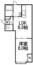 北海道札幌市南区澄川四条2の賃貸アパートの間取り