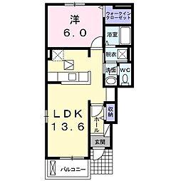 岡山県赤磐市岩田の賃貸アパートの間取り