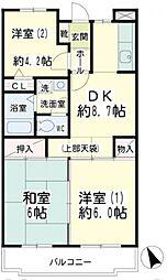 神奈川県横浜市鶴見区北寺尾6丁目の賃貸マンションの間取り