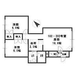 ルミエール福井10[2階]の間取り