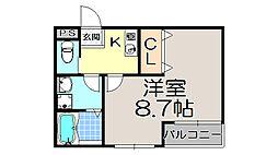 京都府京都市左京区田中西春菜町の賃貸アパートの間取り