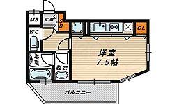 アクティコートクリスタル京橋 9階ワンルームの間取り