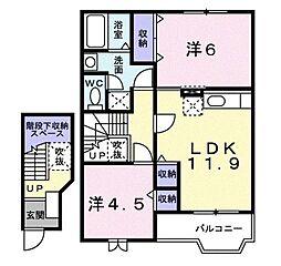香川県丸亀市土器町西3丁目の賃貸アパートの間取り