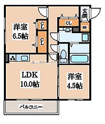 大阪府東大阪市吉田4丁目の賃貸アパートの間取り