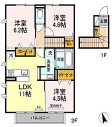 (仮)D-room花畑 弐番館B棟[2階]の間取り