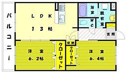 福岡県古賀市薦野の賃貸アパートの間取り