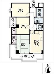 イーストハウスオーモン[5階]の間取り