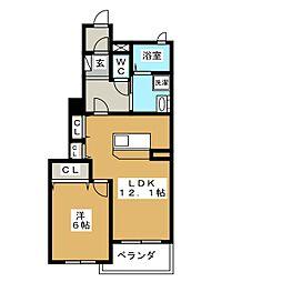 静岡県静岡市駿河区丸子3丁目の賃貸アパートの間取り