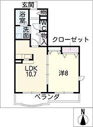 ココルーナ[1階]の間取り