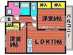 JR山陽本線 西川原駅 徒歩6分の賃貸マンション 1階2LDKの間取り