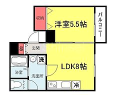 大阪府堺市堺区甲斐町東1丁の賃貸マンションの間取り