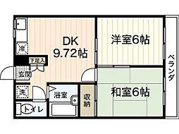 広島県広島市南区出汐3丁目の賃貸アパートの間取り