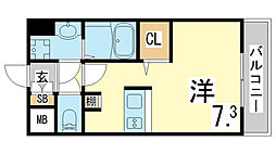 JR東海道・山陽本線 新長田駅 徒歩3分の賃貸マンション 10階ワンルームの間取り