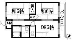 兵庫県宝塚市売布4丁目の賃貸マンションの間取り