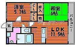 岡山県岡山市北区今保の賃貸マンションの間取り