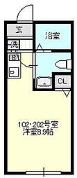 ベイルーム鴨居[102号室号室]の間取り