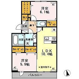 東京都武蔵村山市榎3丁目の賃貸アパートの間取り