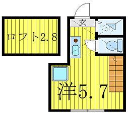 JR高崎線 尾久駅 徒歩15分の賃貸アパート 1階ワンルームの間取り