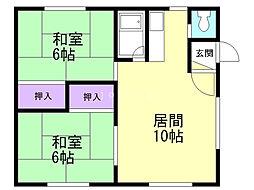 小川ハイツA 2階2LDKの間取り