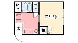 リアル武庫川[2-N号室]の間取り