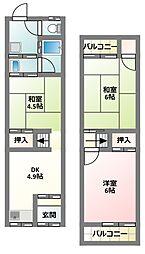 [テラスハウス] 大阪府門真市四宮6丁目 の賃貸【/】の間取り