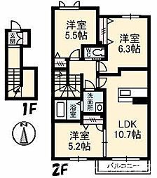シャーメゾンレフレールIII[2階]の間取り