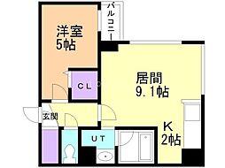 Dolce Fushimi 4階1LDKの間取り