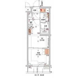 東急東横線 武蔵小杉駅 徒歩10分の賃貸マンション 2階1DKの間取り