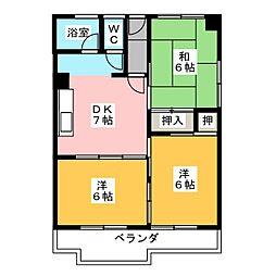 近鉄富吉コーポ B棟[3階]の間取り