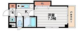 大阪府大阪市中央区瓦屋町1の賃貸マンションの間取り