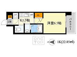 レジュールアッシュ京橋CROSS2 4階1Kの間取り