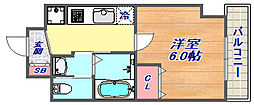 エステムコート神戸山手ステーションデュオ 4階1Kの間取り