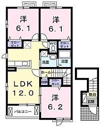 ビ・ホープフル桜ヶ丘[201号号室]の間取り
