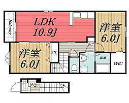京成本線 京成佐倉駅 バス10分 本町下車 徒歩3分の賃貸アパート 2階2LDKの間取り