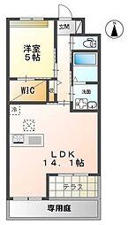 JR東海道本線 鴨宮駅 徒歩25分の賃貸マンション 3階1LDKの間取り