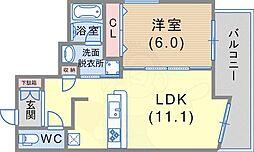 ワコーレ新神戸マスターズレジデンス 5階1LDKの間取り